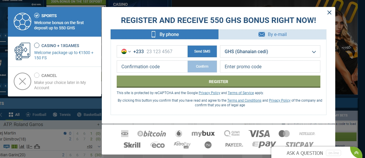 1xBet Ghana registration through the social networks
